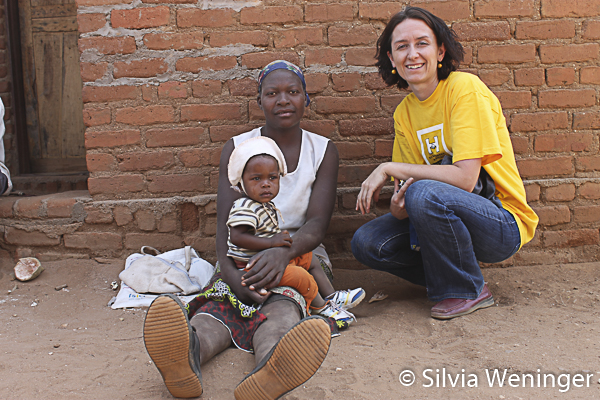 Silvia Weninger (right) with Baobab Fruit Collector and Child