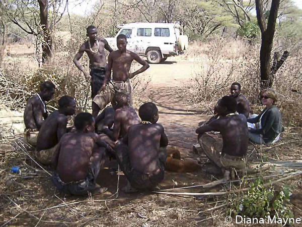 """Mama Mbuyu"" Diana Mayne at work with Hadza People in Tanzania"