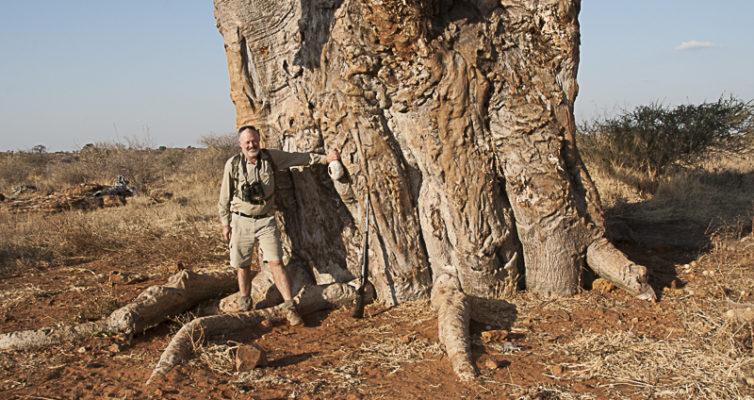Russell Crossey with Baobab, Mashatu, Botswana