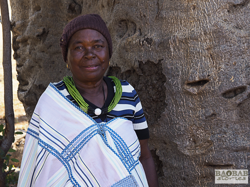 Martha Kwerana next to an old baobab, Zwigodini Village, Limpopo Province, South Africa, © Heike Pander