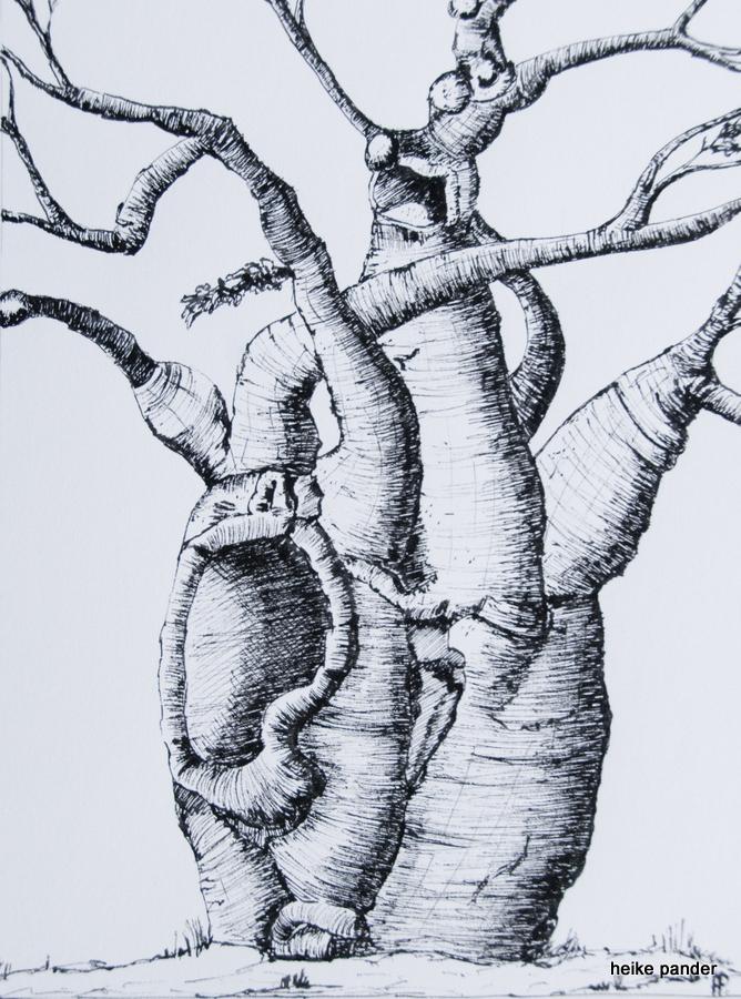 Baobab, Simbabwe, Tinte auf Papier, Heike Pander, 2014