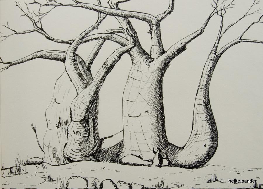 "Baobab ""Elefant"", Tinte auf Papier, Heike Pander, 2014"