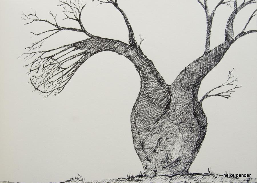 Baobab mit Mond, Tinte auf Papier, Heike Pander, 2014