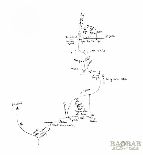 Hangezeichnete Karte ins Venda Gebiet
