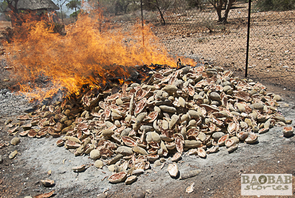 Baobab Fruchtschalen werden verbrannt