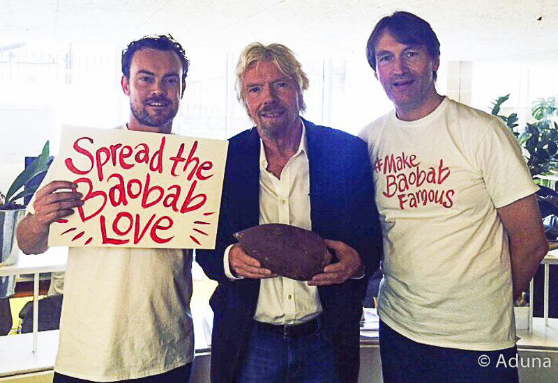 Aduna Baobab Founders Andrew Hunt and Nick Slater with Sir Richard Branson (center)